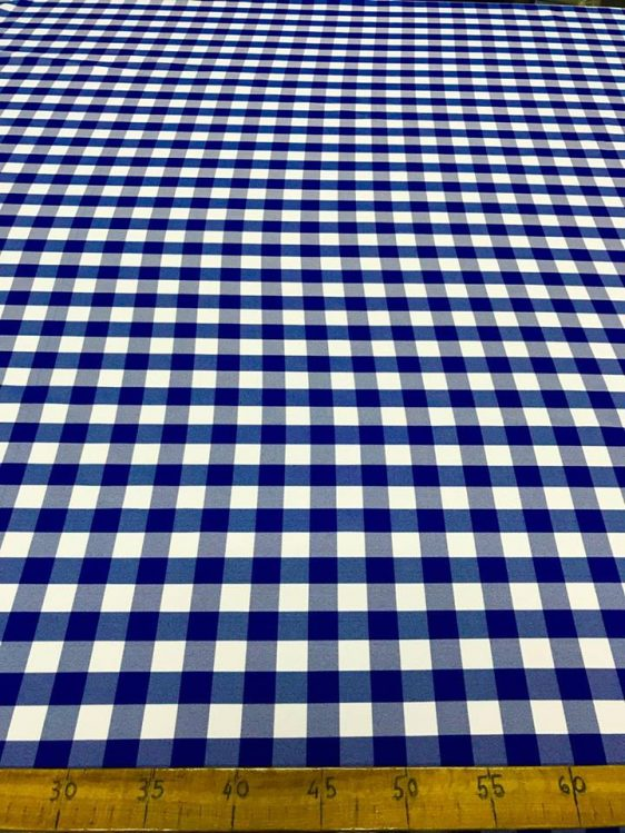 3079 SUMMER CHECKERED FABRIC BLUE-WHITE SMALL - Bonne Blanche