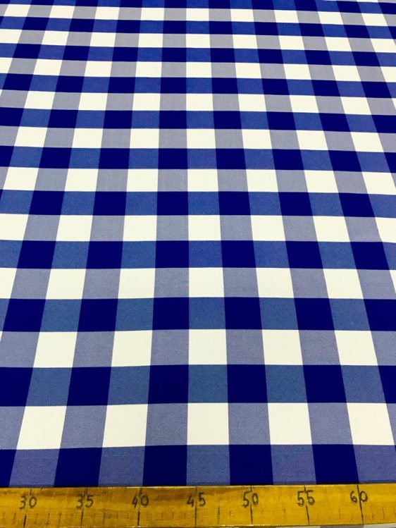 3080 SUMMER CHECKERED FABRIC BLUE-WHITE BIG - Bonne Blanche